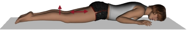 Imagen ilustrativa. muñeca tumbada boca abajo, piernas estiradas, contrayendo la parte posterior del mundo y levantando levemente la pierna derecha